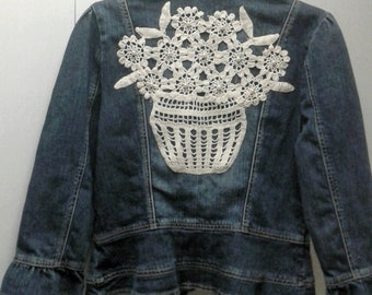 upcycled vintage crochet embellished ruffled denim jacket