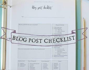 Blog Post Checklist - Blog post planner - blog post planning sheet