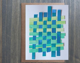 Paper Woven Blank Greeting Card, One Of A Kind Greeting Card, Blue and Turquoise Card