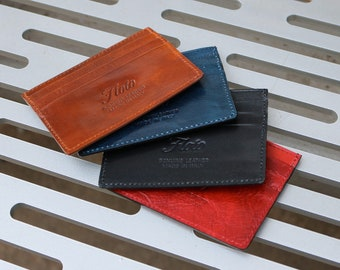 Leather Credit Card Wallet, Slim Leather Wallet, Leather Card Wallet, Floto Leather Slim Wallet (5001)