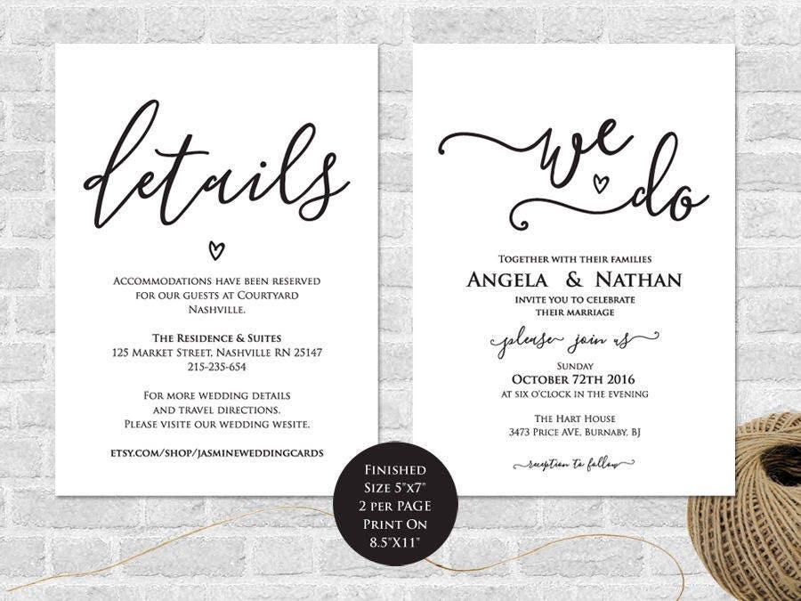 Wedding Invitation Printable We Do Invitation Details