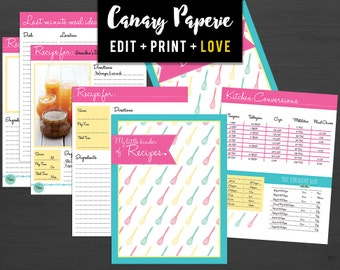 "Printable Recipe Binder Organizer in Pink, Teal & Yellow // 31 Print Ready 8.5""x11"" Pages for Baking! - Digital PDF + Instant Download"