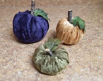 Set of 3 Velvet Pumpkins - Fall, Harvest, and Thanksgiving Decor