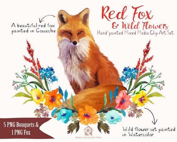 Digital Clipart- Watercolor Flower Clipart, peonies Clip art, Floral Bouquet Clipart- Fox and Wild Flowers Floral Set
