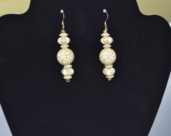 Creamy white and gold earrings