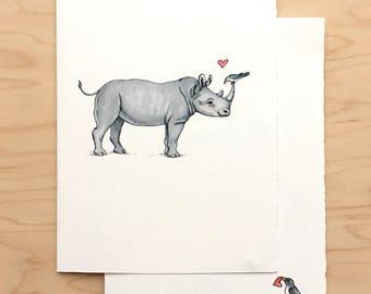 Valentine Card Rhino + Bird