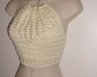 Hand Crochet Festival Top, Crochet Halter Top, Cropped Top, Festival Wear, Beach Cover-up, Hippie Chic , Summer Top