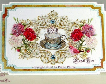 Her Royale Highness, French Bleu, Royale Dalton Inspired,  Petite Note Cards, Swiss Imported French Bleu Envelopes