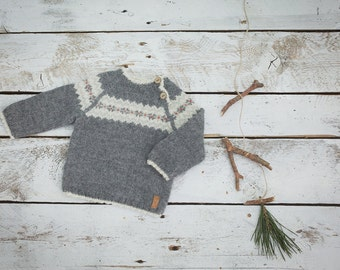 Alpaca sweater, knitted baby clothes, Fair isle sweater, Nordic sweater, Icelandic sweater, Norwegian sweater, knit sweater, wool sweater