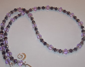 Purple and Lilac Glass Rondelles Silver Plated Beads Silver Crystals Necklace