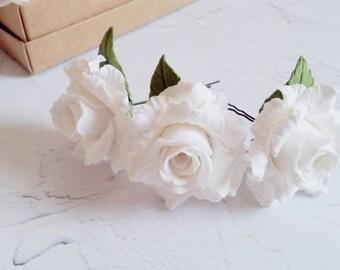 Hairpins, White Hairpins, Hair Accessory, Wedding Accessory, Hairpins with roses, white roses, Hairpins for bride, original accessories
