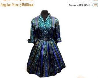 STOREWIDE CLEARANCE Vintage 50s 60s Full Skirt Dress Pleated Dark Floral Stripes Rhinestones Winter Belt