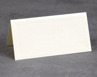 Triple Embossed Border Plain Ivory or White Wedding Place Cards (Set of 50)