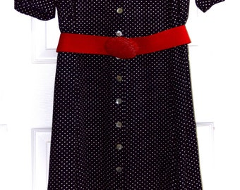 SHERI MARTIN WOMENS Navy & White Polka Dot -Plus Size