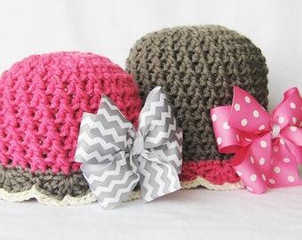 Hat CROCHET PATTERN - Bow-tastic Beanie & hair bow tutorial - Instant Download, crochet hat pattern, for girls, baby hat pattern, baby girl