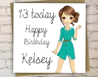 13th birthday card etsy personalised teenage birthday card13th birthday cardcards for girlsteenagerhandmade bookmarktalkfo Image collections