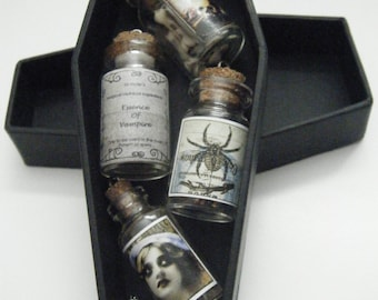 4 x Bottle - Vial Charms Necklaces in Black Coffin Gift Box Set Gothic Emo Victorian