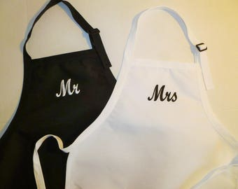 Mr and Mrs Aprons/Embroidered Black Aprons/Personalized White Aprons/Monogram Bride and Groom Aprons/Hostess Aprons/Chef Aprons Custom Apron