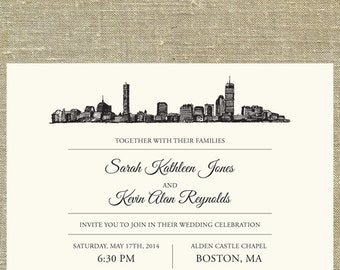 Boston Skyline Destination Wedding Invitation Suite, SAMPLE ONLY