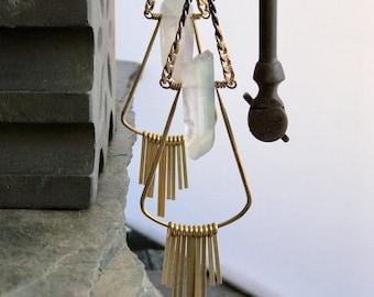 Long Quartz Earrings, Quartz Chandelier Earrings, Raw Quartz Long Stone Earrings, Long Chandelier Earrings, Clear Quartz Crystal Earrings