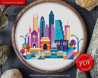 Atlanta Cross Stitch Pattern for Instant Download *P144 | Easy Cross Stitch| Counted Cross Stitch|Embroidery Design| City Cross Stitch