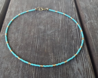 Turquoise Gold Beaded Choker, Blue Seed Bead Choker, Minimal Choker, Original OrangeKnot, Czech Glass, Small Beads Choker, Beaded Necklace