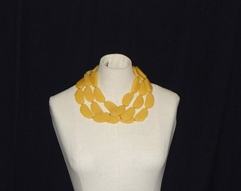 Vintage Joan Rivers Necklace Yellow Plastic Bead Multistrand Thick Chunky Yellow Necklace Signed Joan Rivers
