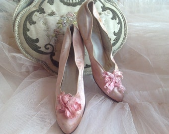 SOLD***SOLD***SOLD***Gorgeous antique shabby chic silk shoes