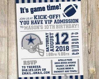 Dallas Cowboys Football Birthday Party Invitation / DIY Prinable Download
