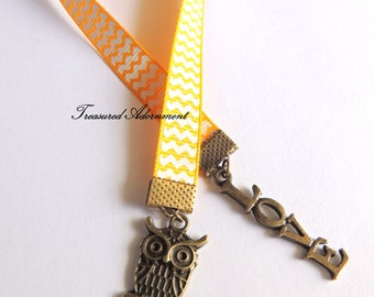 Bookmark, Owl Bookmark, Vintage style Bookmark, Yellow Chevron Ribbon, Gift for Book lover, Bookworm, Teacher appreciation, Thank you gift