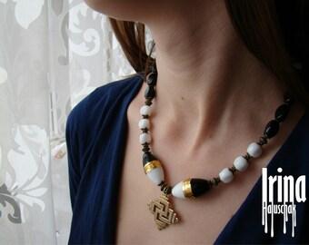 Sale Ukrainian traditional zgarda. Zgarda necklace. Lampwork beads necklace. Black and white glass necklace Ukrainian style. Swarga cross