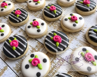 2 Dozen Mini Kate Spade Polka Dot/Stripe Decorated Cookies Set