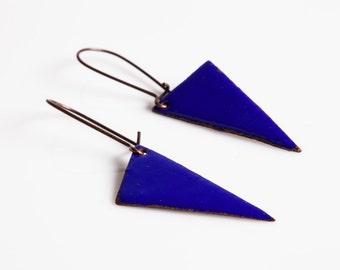 Addie Earrings - Enamel on copper, triangles, geometric