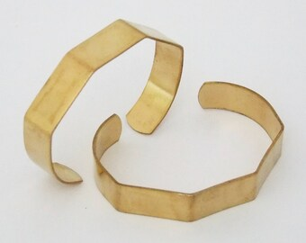 Pkg of 2 Five Sided Brass Bracelet Cuff Blanks for Jewelry Making .5 inch