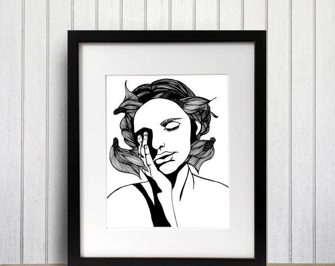 Featured listing image: Unmasking Ink Drawing - Art Print