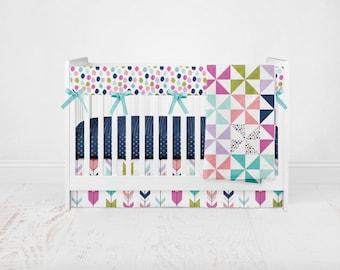 Baby Bedding Good Cheers - Girl Bedding - Navy Crib Sheet - Aqua Crib Sheet- Bright Bedding - Pink Crib Bedding - Crib Blanket