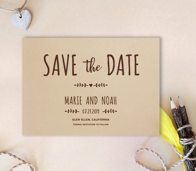 Simple Save The Date Card Kraft Wedding Save The Dates