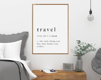 Travel Print Quote Poster Art Printable Definition Typography Artwork Holiday Black White Wall Art Modern Type Print Monochrome Download