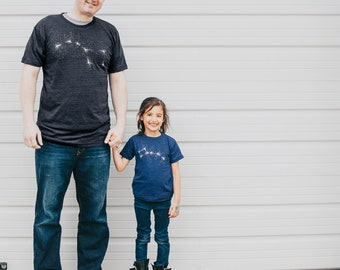 Mix and Match Big Little Dipper Tshirt Set, First Fathers Day Gift for Men, Daughter Son Dad and Baby Matching Tees, Black and Blue