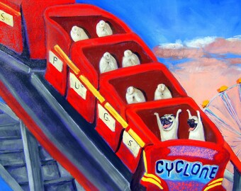 "Pug Art Print of an original oil painting -""Coney Dogs"" - 8 x 10 -Roller Coaster- Dog Art"