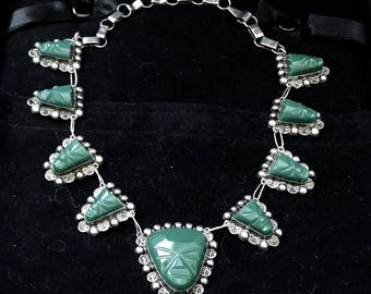 Vintage Taxco Mexico Sterling Silver Aventurine Carved Face Link Necklace