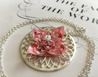 OOAK Origami flower necklace- pretty in pink