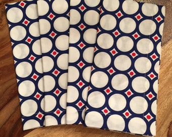 Blue circular pattern with red dot on white Napkin-Set of 2 or 4