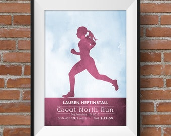 Marathon personalised print, Runner, Marathon, Jogger, watercolour, Female runner