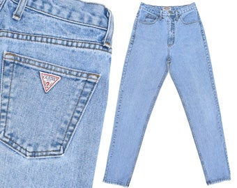 Vintage Guess Jeans Womens Slim Fit Taper Jeans 80s Mom Jeans High Rise Jeans Faded Guess Jeans High Waisted Tapered Leg Jeans 28 W