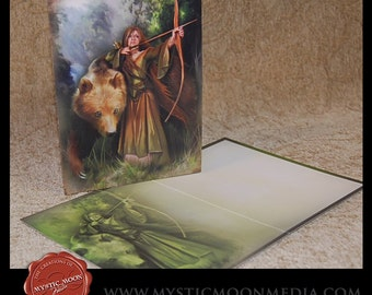 Sabine...Note Cards and Envelopes... Mediaeval Archer Woman Protecting Bear
