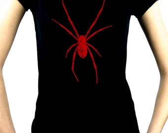 Red Spider / Black Widow Women's Babydoll Shirt Top - DMC-WBD-2014020red