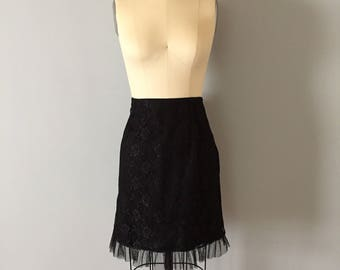 black lace and tulle mini skirt || 90s black floral lace skirt