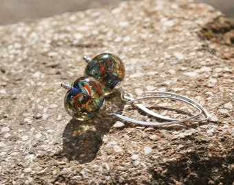 Lampwork and silver earrings, Glass Earrings, Ocean Earrings, artisan lampwork bead 3D, Earrings Lampwork Aquarium, yellow,orange, blue