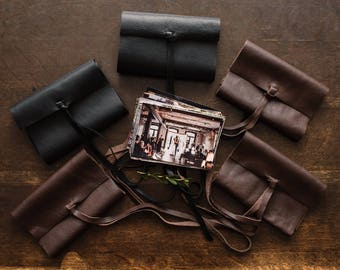 "5-Pack Leather Print Wrap | Leather Photo Wallet Case l client gift for wedding photographers | for 4x6"" or 5x7"" photos"